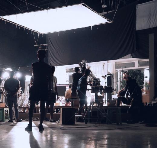 Filming on a sound stage.